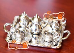 Wholesale Dollhouse Cups - G05-X4340 children baby gift Toy 1:12 Dollhouse mini Furniture Miniature rement silver metal coffee tea cup set