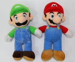 Wholesale Mario Plush Figure - Hot Super Mario Bros Stand LUIGI Mario Plush Soft Stuffed Doll Toy for kids best gift 10inch 25cm