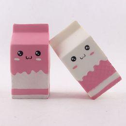 Wholesale Cartoon Strap - Squishy Milk Box Cute Jumbo Cartoon Simitation PU Slow Rising Toys Phone Straps Pendant Sweet Cream Scented Bread Kids Fun Toy Gift