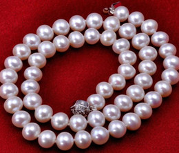 Wholesale Australia South Sea Pearls - Classic Natural 9-10mm Australia South Sea white Pearl necklace 20inch 925 silver clasp