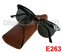 Wholesale Gold Frame Half Glasses - 20pcs Excellent Quality Fashion Designer Sunglasses Semi Rimless Sun Glasses For Mens Womens Gold Frame Black 51mm Glass Lenses With Cases
