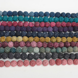 Wholesale 8mm Loose Beads - Multi Color Lava Beads 8mm Natural Stone Volcanic Rock Round Loose Beads DIY Jewelry Bracelet Making Volcano Stone Bead