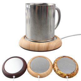 Wholesale Wood Hot Pads - walnut wood grain usb cup warmer pad coffee tea milk hot drinks heating safty electric desktop warm heating pad matel base marble grain