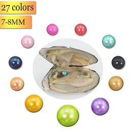 Wholesale Black Cultured Pearl Beads - Mixed 27 Colors Round Beads 7-8mm 20pcs Lot Mysterious Gifts Vacuum-packed Jewelry Freshwater Cultured Love Wish Pearls Oysters FP012