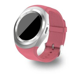Wholesale Hot Pink Android - Hot Y1 Smartwatch Beautiful Smart Watch for IOS Android Samsung Apple iPhone Round Touth Screen Wrisbrand with SIM Card Slot