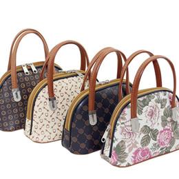 Wholesale Wholesale Boutique Handbags - Flower Geometric Pattern Handbag Mummy Shopping Bag Elderly Boutique Shopping Bags Shell-shape PU Leather Handbags Casual Ladies Small Totes