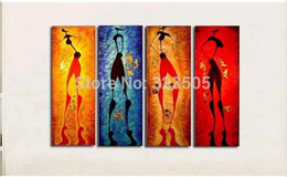 Wholesale Hand Painted Canvas Oil Art - 4 piece canvas wall art abstract modern Sexy African women hand painted oil painting on canvas for living room home decoration