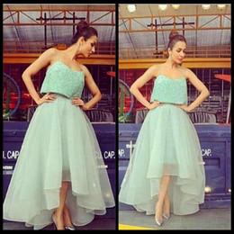 Wholesale Hi Lo Lilac Dress - Spaghetti Sparkling Sequined Light Green Organza A Line Prom Dress Hi Lo Fashion Evening Dress 2017 Saudi Arabia Party Gown