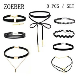 Wholesale gothic choker necklace set - Wholesale- ZOEBER 8 PCS Set New Gothic Tattoo Leather Choker Necklaces Black leather necklace collar bowknot rope chain Hollow Out Black