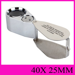 Wholesale microscope wholesalers - All-Metal Magnifier LED Currency Detecting Jewelry Identifying Type 40X25MM Jewel Illuminating Loupes Portable handheld Microscope NO.9890