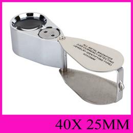 microscopi della lampada Sconti Lente di ingrandimento interamente in metallo LED che identifica gioielli che identificano il tipo 40X25MM Gioiello illuminante gioiello Microscopio portatile portatile NO.9890