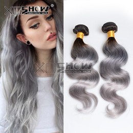 Wholesale Cheap Colored Hair Dye - Brazilian Peruvian Malaysian Indian 7A grade cheap fashion wave hair estensions Ombre 2 Tone Colored 1b grey silver 3pcs lot free shipping