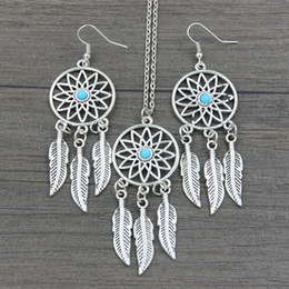 Wholesale Twisted Beads Necklace - Antique Silver Plated Dream Catcher Turquoise Beads Chain Necklace Earrings Set