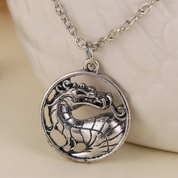 Wholesale Vintage Dragon Necklace - Wholesale-Mortal Kombat necklace dragon vintage pendant movie jewelry for men and women wholesale