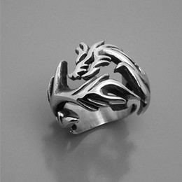 Wholesale Chinese Wholesale Silver Jewelry - Men's and woman dragon vintage stainless steel rings chinese style titanium steel metal rings jewelry accessories