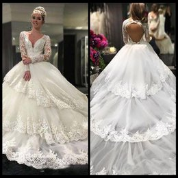 Wholesale Noble Training - Charming Noble Wedding Dresses Deep V-Neck Long Sleeves With Lace Applique Open Back Tiered Ruffle Wedding Dress Bridal Gowns