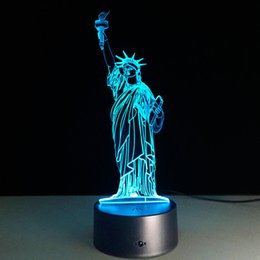 Wholesale Statue Battery - 2016 Statue of Liberty 3D Optical Illusion Lamp Night Light DC 5V USB Charging AA Battery Wholesale Dropshipping Free Shipping
