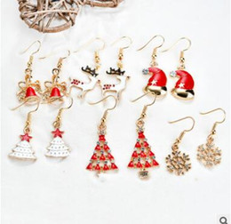Wholesale Earring Christmas Bell - New Fashion Girls Santa Claus Snowman Lovely Alloy Diamond Snowman Tree Bell Christmas Jewelry Christmas Earring For Women Teens Gifts 1060