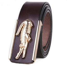 Wholesale Boys Cowboy Belt - 2017luxury brand new men's gold belt cowboy cowhide crocodile smooth buckle designers stylish leather fringe belt waist strap Business