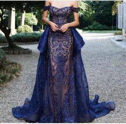 2019 robes de soirée bleu marine avec décolleté en coeur broderie longueur de plancher balayage train robes de soirée de bal ? partir de fabricateur