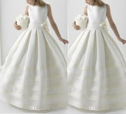 Wholesale two color pageant gown - Two Piece Handmade Pageant Dresses With Jacket Ball Gowns For Girls Flower Girl Dress 2018 Holy First Communion Dresses For Weddings Formal