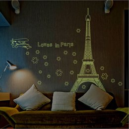 Wholesale Eiffel Wall Decor - New Romantic Art Paris Eiffel Tower Night Fluorescent Wall Sticker Mural Vinyl Decal Home Room Decor France DIY Wall Wallpaper