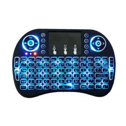 Wholesale Htpc Keyboard Mouse - Free shipping Rii mini i8+ Keyboard Backlight 2.4G Wireless Touchpad mouse Backlit Backlight for HTPC Laptop Tablet MXQ M8S Mini PC