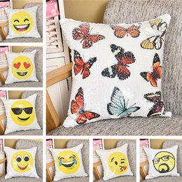 Wholesale Round Pillow Cases - Sequin Emoji Pillow Case 40*40cm Expression Mermaid Waist Cushion Cover Color Change Pillowcase Home Decor IB558