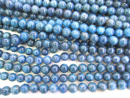 Wholesale Blue Gemstones - wholesale 4-14mm full strand Natural Apatite Gemstone Round Ball Blue Loose Bead