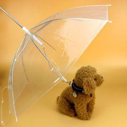 Wholesale Dog Umbrellas - Useful Transparent PE Pet Umbrella Small Dog Umbrella Rain Gear with Dog Leads Keeps Pet Dry in Rain Snowing WA1287