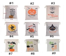 Wholesale Halloween Candy Sale - Hot Sale Halloween candy bags Large Canvas Hand Bags Trick or treat Pumpkin Devil Spider Halloween Gift Bags In stock