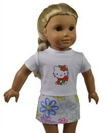 Wholesale Dress For Girl Kitty - Lovely Pattern Kitty Printed Doll Shirt and Doll Skirt Fitting for 18 inch American Girl Dolls