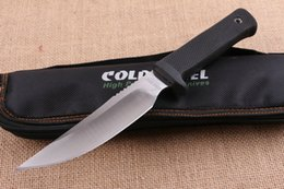 Wholesale Fire Steel Knife - 2016 New Cold Steel Survival Straight knife 7Cr17 58HRC Satin Finish blade Outdoor Camping knife knives with Fire Starter and Nylon bag