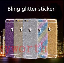 Wholesale Glitter Skin Stickers For Iphone - Full Body Bling Diamond shiny Glitter Front Back Skin Sticker For Iphone 7 6 6s Plus 5 SE Samsung Galaxy S6 S7 edge