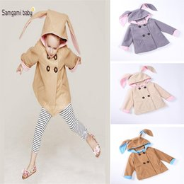Wholesale Double Hood Jacket - New Winter Autumn INS Baby girls Rabbit coat Woolen cloth rabbit ears Double-breasted Outwear clothing baby hooded jacket DHL C1196