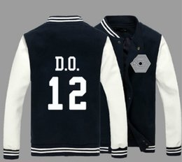 Wholesale Kpop Exo Jackets - Fall-2015 Exo baseball jacket unisex lovers kpop album single breasted fans supportive hoodie jackets for men women sport suit