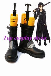 Wholesale Swords Costumes - Wholesale-Freeshipping anime Sword Art Online SAO Kirito Cosplay Shoes Boots Custom made Version D for Halloween Christmas