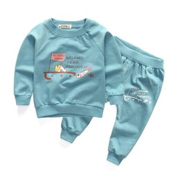Wholesale Children Clothes Design For Boys - Wholesale- New cotton casual baby boys girls clothing sets fish design long sleeve tops + trousers suits for infant children autumn clothes