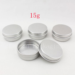 Wholesale Lip Balm Tin Containers Wholesale - 15g aluminum empty cosmetic container with lids 15ml small round lip balm tin solid perfume cosmetic packaging jar sample bottle