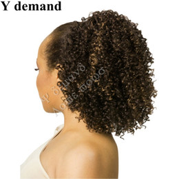 Wholesale hair extensions afro curls - Claws Ponytails Hair Accessories Extensions Short high Sports Curled Claw Afro Kinky Ponytail Drawstring Synthetic Ponytail Y demand