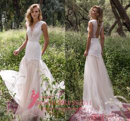 Wholesale Short Pleated Skirts Lace - Limor Rosen 2017 Mermaid Wedding Dresses Illusion Bodice Jewel Cap Sleeve Appliques Court Train Vintage Garden Beach Boho Bridal Gowns