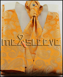 Wholesale Men S Tie Paisley - Wholesale-new arrive free shipping orange paisley waistcoat(vest+ascot tie+cufflinks+handkerchief)
