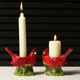 Wholesale Mousse Candle Holders - Wholesale 2017 New Arrival Home Decor Christams Gift Rustic Series Red Ceramic Couple Bird Ceramic Mousse Candle Holders