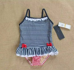 Wholesale One Piece White Baby - 0-1Y infant swimwear Striped girls badmode baby TH Baby Ruffle One-Piece Swimsuit, Navy White with Red Bow zwembroek swimwear free shipping