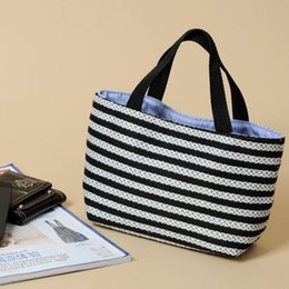 Wholesale Multi Color Hand Bag - The Original Black and White Striped Wood Small Woven Hand Bags Handbags