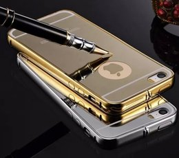 Wholesale Aluminum Iphone5 - KXX brand Mirror Aluminum Case for Iphone5 5S Luxury Gold Silver Metal Frame Acrylic Phone Case Back Cover