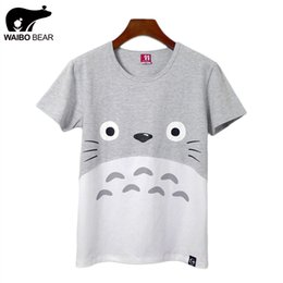 bear cartoon t shirts Promo Codes - Wholesale-New Women Summer Casual Funny Harajuku Totoro Short T-Shirt Cartoon Print Basic Tee Shirts Fashion Kawaii Tops WAIBO BEAR