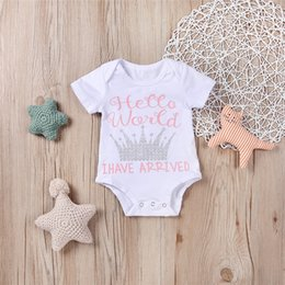 Wholesale Hot Sale Kids Summer - Mikrdoo Hot Sale Baby Rompers Hello World Have Arrived Printed Bodysuit Kids Boy Girl Crown Clothes Set First Birthday Cotton Set Wholesale