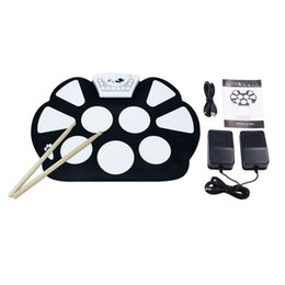 Wholesale Desktop Silicon - Wholesale-Digital PC Desktop USB Silicon Foldable Roll Up Drum Pad Kit With Stick New Arrival