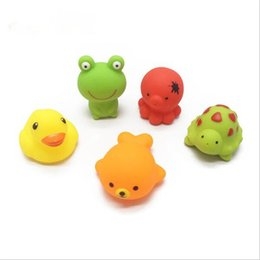 Wholesale Cheap Items Free Shipping - Cheap wholeslea Baby Bath Water Toy Yellow rubber duck 5 kinds of animals such as children swimming beach bath children gifts free shipping